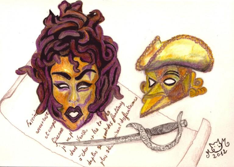 Masques-vénitiens crayons de couleur 2012