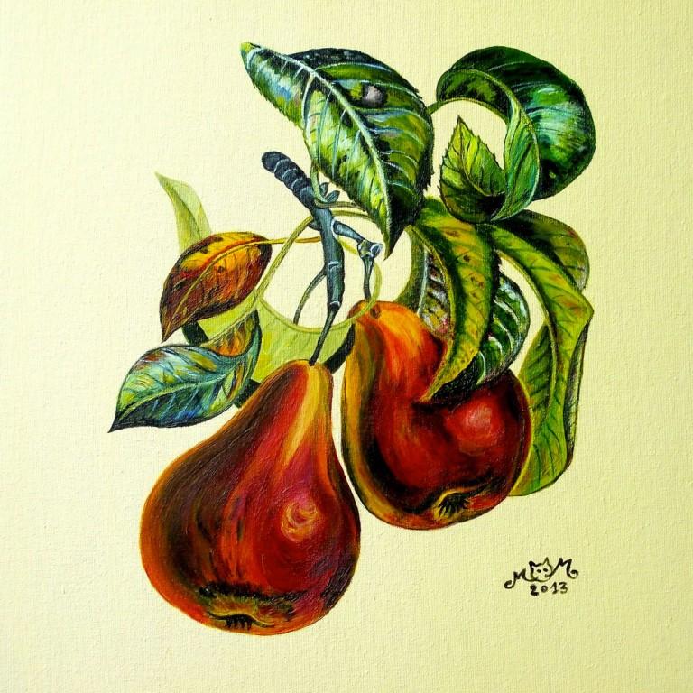 martinemoniemounie_peinture-acrylique-29_fruits-poires_2013