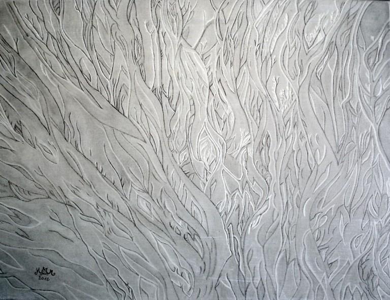martinemoniemounie_crayons graphite sur toile de lin_46x61-Quand-la-mer-se-retire_2012
