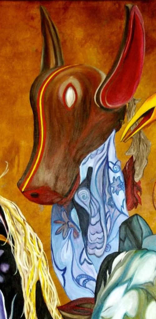 martinemoniemounie_peinture-acrylique-_02_Masque-bozo_détail-03
