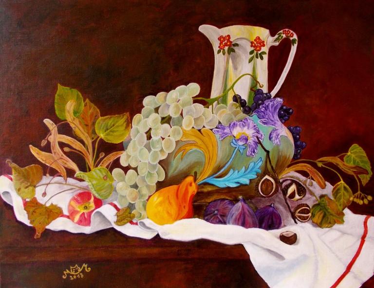 martinemoniemounie_peinture-acrylique-_50x65_toile de lin_Nature morte automnale_2013