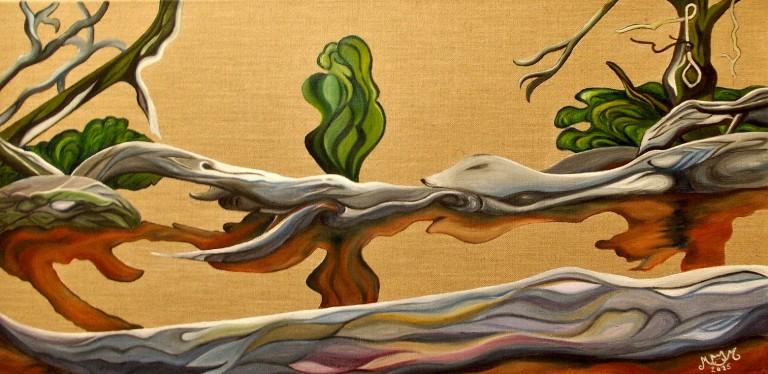 martinemoniemounie_peinture-acrylique-_40x80_toile de lin_Racines