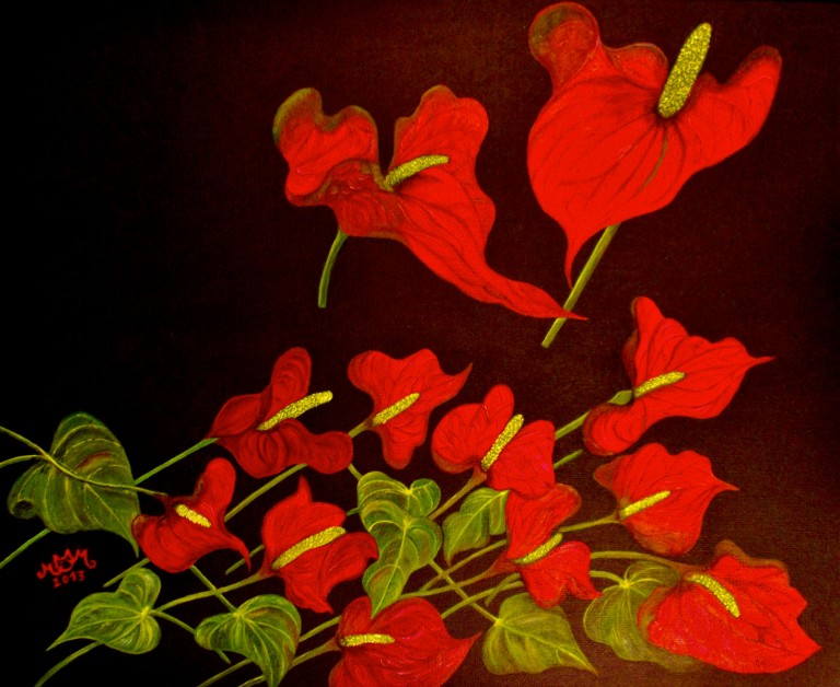 martinemoniemounie_peinture-acrylique-_03_Anthuriums