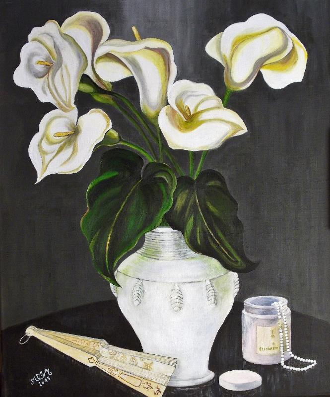 martinemoniemounie_peinture acrylique _04_Arums et l'éventail_F15 65x54_