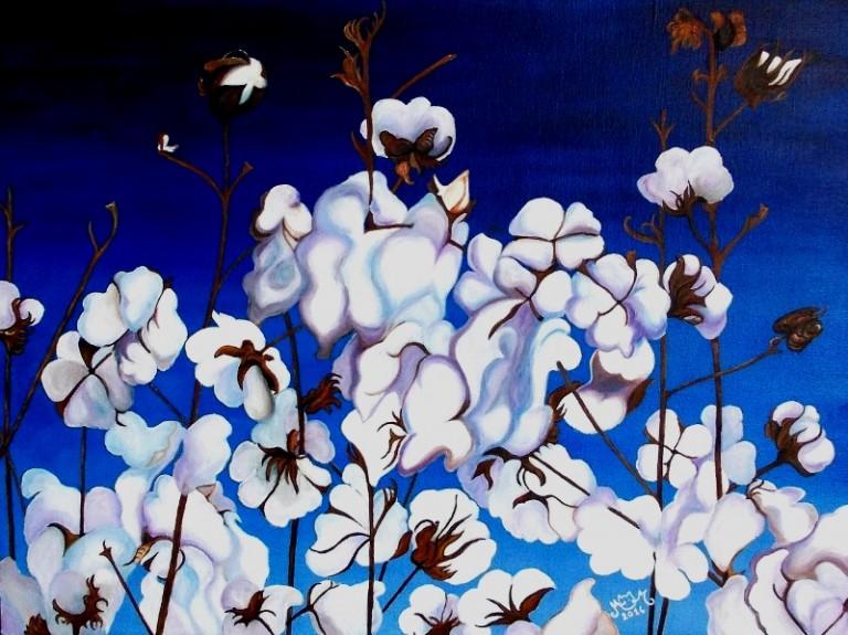 martinemoniemounie_peinture acrylique _05_Fleurs de coton_P20_54x73_2014