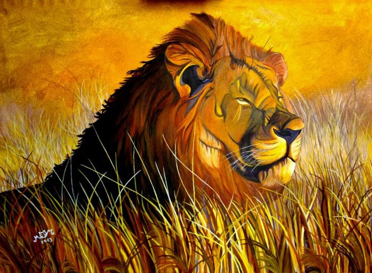 martinemoniemounie_peinture-acrylique-_60x81-toile de lin_Le Lion_2013