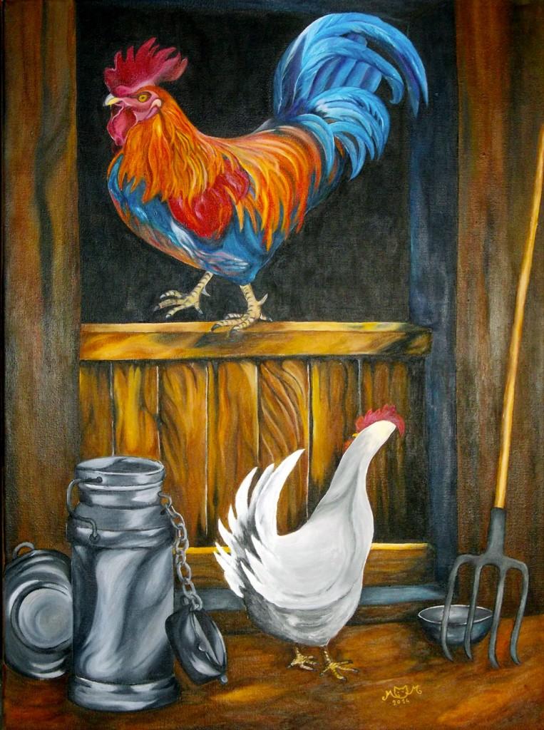 martinemoniemounie_peinture-acrylique-_73x54_toile de lin_Le-coq-et-la-poule-2014