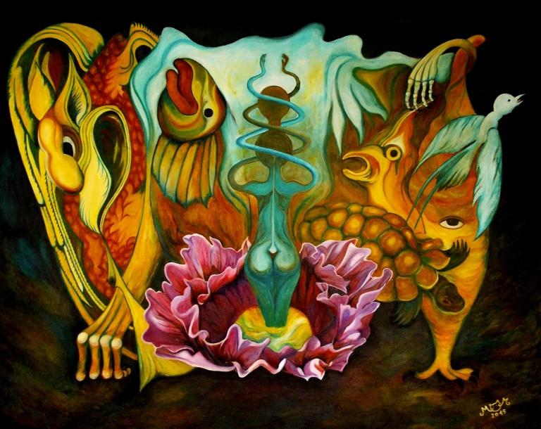 martinemoniemounie_acrylique_81x100_toile de lin_Opium_2015