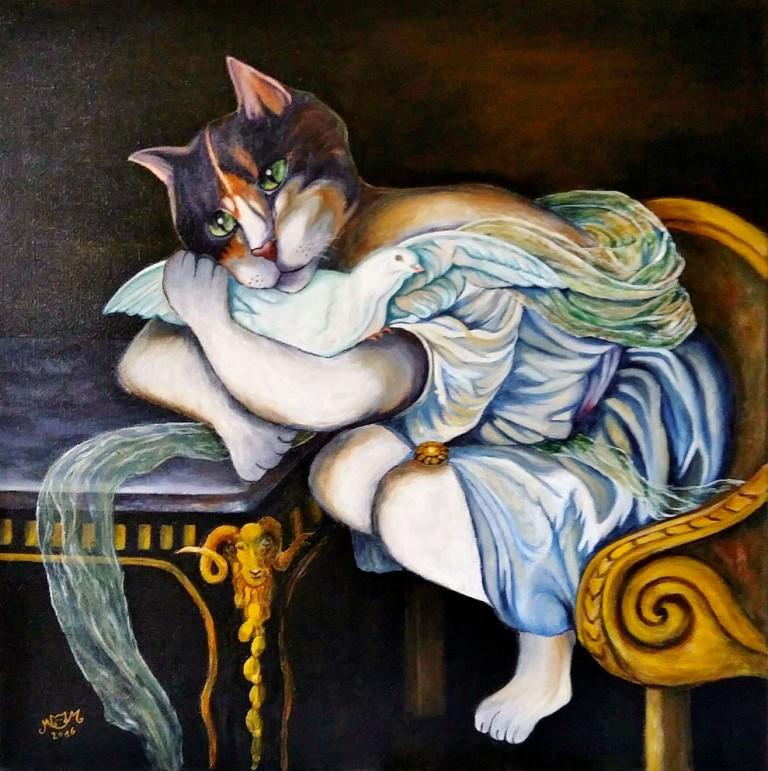 martinemoniemounie_peinture-acrylique-_60x60_toile de lin_Le-chat-et-la-colombe_2016
