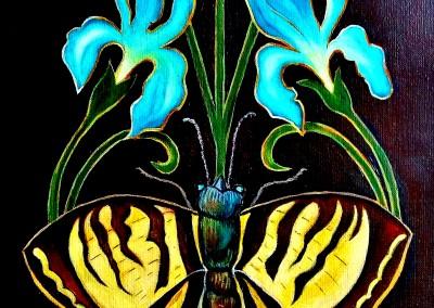 martinemoniemounie acrylique sur toile de lin Le papillon aux iris 2016