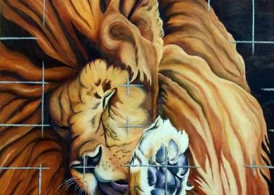 martinemoniemounie_peinture acrylique sur toile de lin_H60 L60 _Le lion en cage_2017