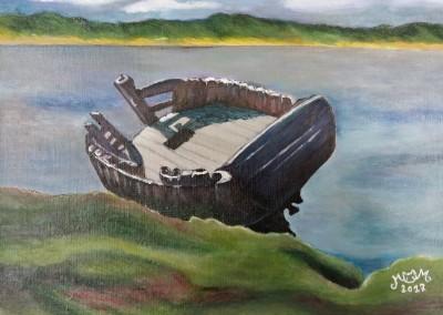 martinemoniemounie_peinture acrylique sur toile de lin_H22 L33 _Une épave échouée_2017
