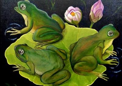 Martine Monie Mounie 2017 _acrylique sur toile de lin_Trois grenouilles sur un nénuphar 40x40 (799x800)