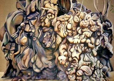 martinemoniemounie_peinture acrylique sur toile de lin 80cmx80cm_14_Délire racinaire d'un bélombra_2017__(800x795)