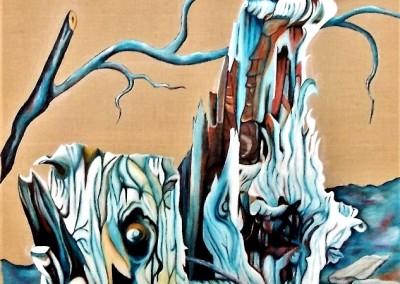 martinemoniemounie_peinture acrylique sur toile de lin_16_F20_Deux souches et une pomme de pin_2018 blog