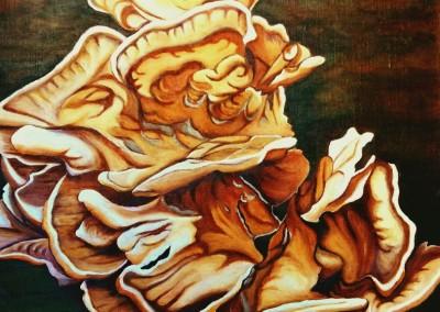 22_martinemoniemounie_peinture acrylique sur toile de lin_50x50_Les polypores_2018