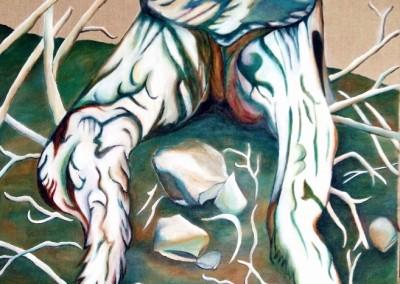 24_martinemoniemounie_peinture acrylique sur toile de lin_61x50_L'arbre tronqué_2018_(657x800)