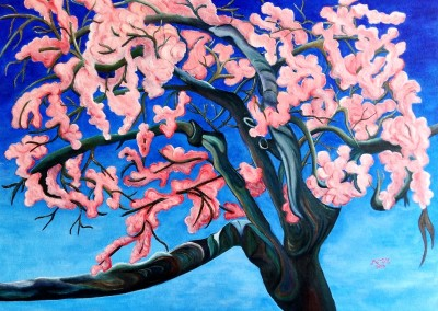 martinemoniemounie_peinture acrylique _07_Le cerisier rose du Japon_2019_P20_54x73_blog_