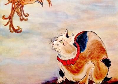 19_MartineMonieMounie_30x30_Acrylique sur toile de lin_2019 Le chat et l'oiseau_blog