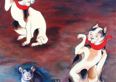 21_MartineMonieMounie_30x30_Acrylique sur toile de lin_2019 Les chats et la souris_blog_