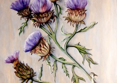 martinemoniemounie_peinture acrylique sur toile de lin_08_Fleurs d'artichaut_F15_65x54_2020 (667x800)