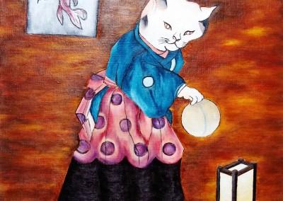 MartineMonieMounie_acrylique sur toile de lin_40x40_Le chat au ballon_2020_blog